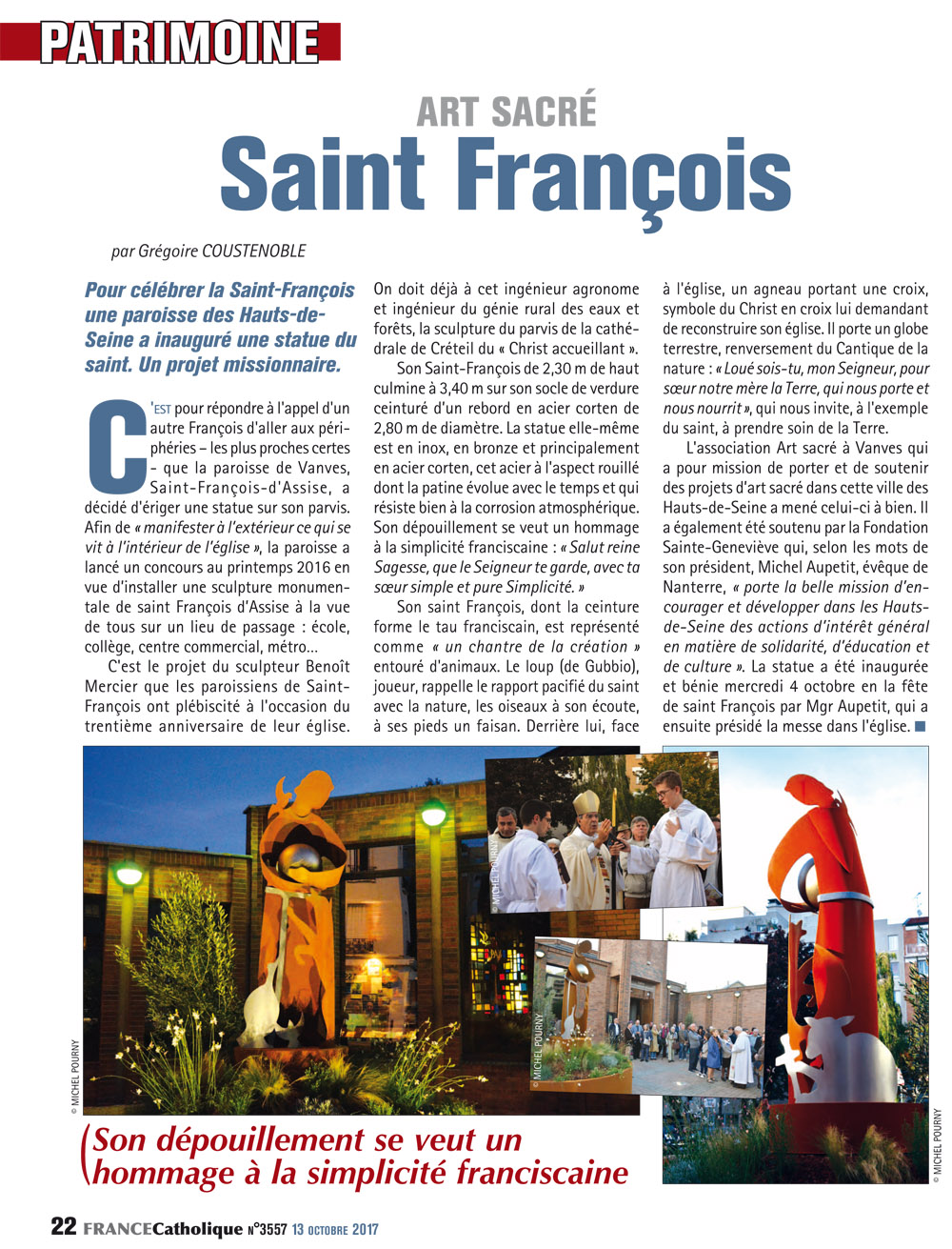 article France catholique 13octobre2017